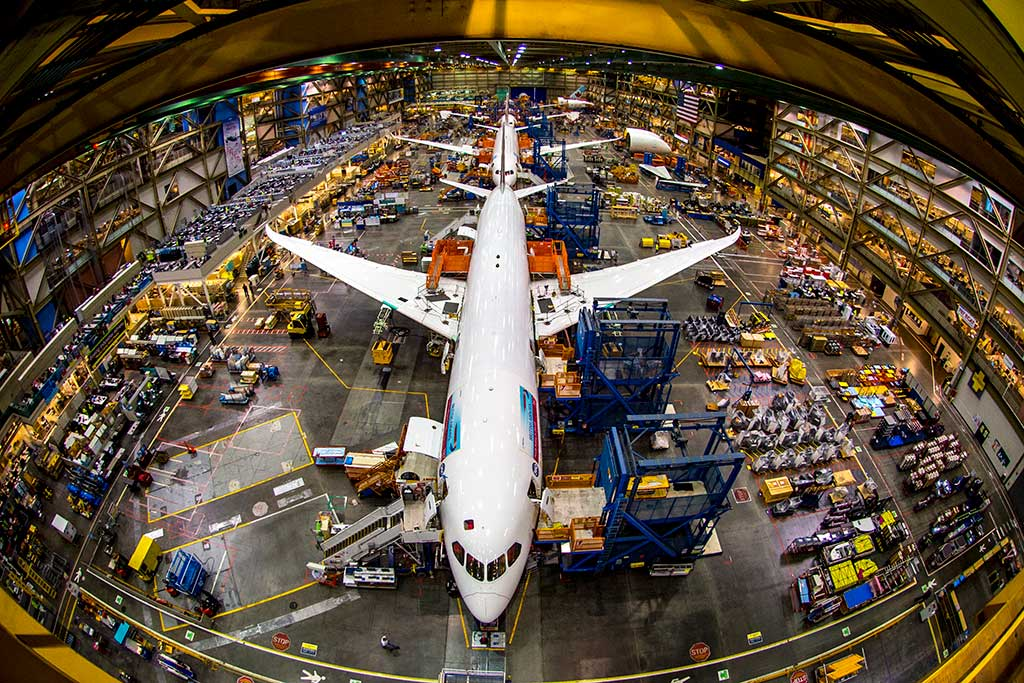 Watch as 747s, 777s and 787 Dreamliners are built on the Boeing Factory floor. Photo: